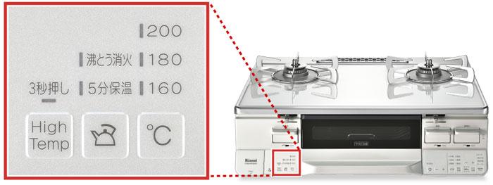 160℃・180℃・200℃の温度調整機能